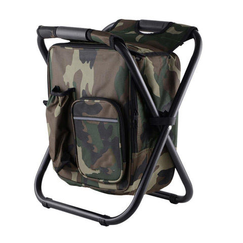 Image of camouflage cooler chair backpack
