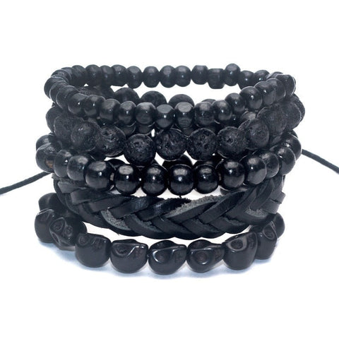 4-5 Black Lava Stone Beads Stone Leather Bracelet for men free shipping