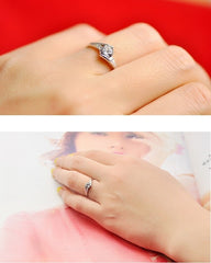 Silver Wedding Jewelry Rings for Women Crystal Engagement Ring Free Shipping