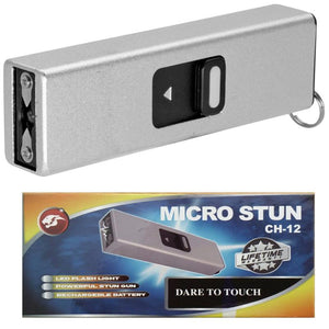 USB Self Defense Silver Stun Gun Rec hargeable LED Light Keychain