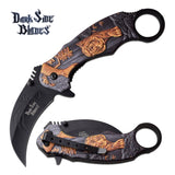 "8"" Golden Tiger Karambit Assisted Opening Folding Knife"