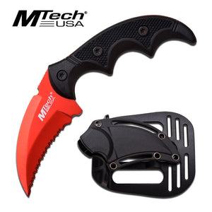 "5"" Hawk Blade Knife Tactical ABS Holster Red Full Tang Combat Karambit"