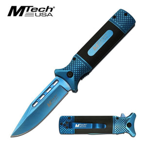 "3.75"" Blue Tinite Blade Heavy Duty Black EDC Spring Assisted Knife"