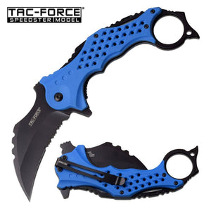 "Tac-Force 3"" Black Serrated Blade Blue Karambit Tactical Assisted Knife"
