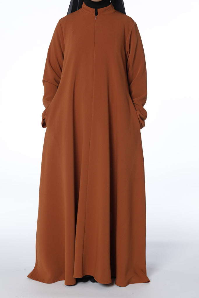 Burnt Orange Jacket Abaya - Arman Hussain Studio