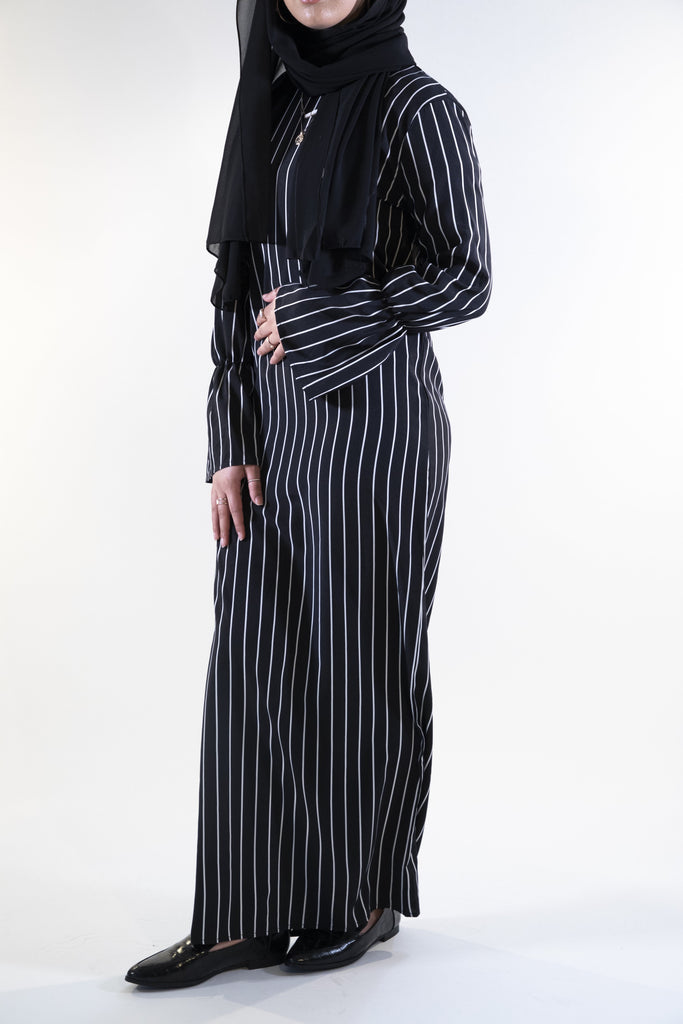 Pinstripe Dress with Belt - Black - Arman Hussain Studio