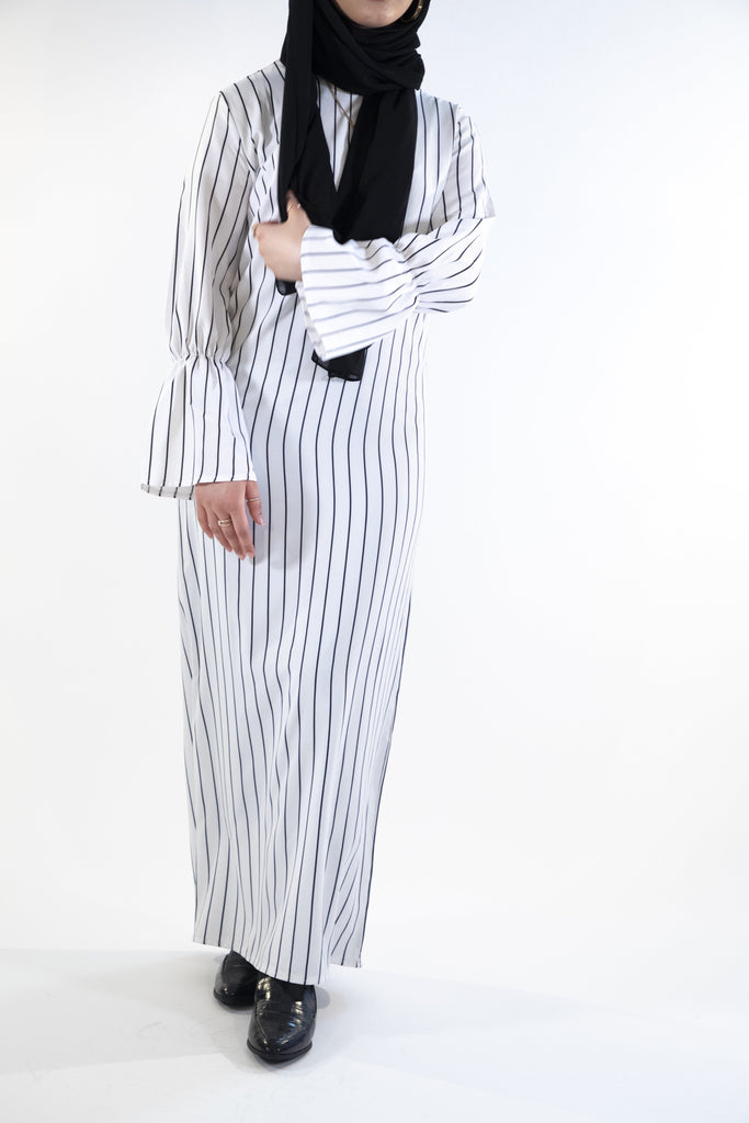 Pinstripe Dress with Belt - White