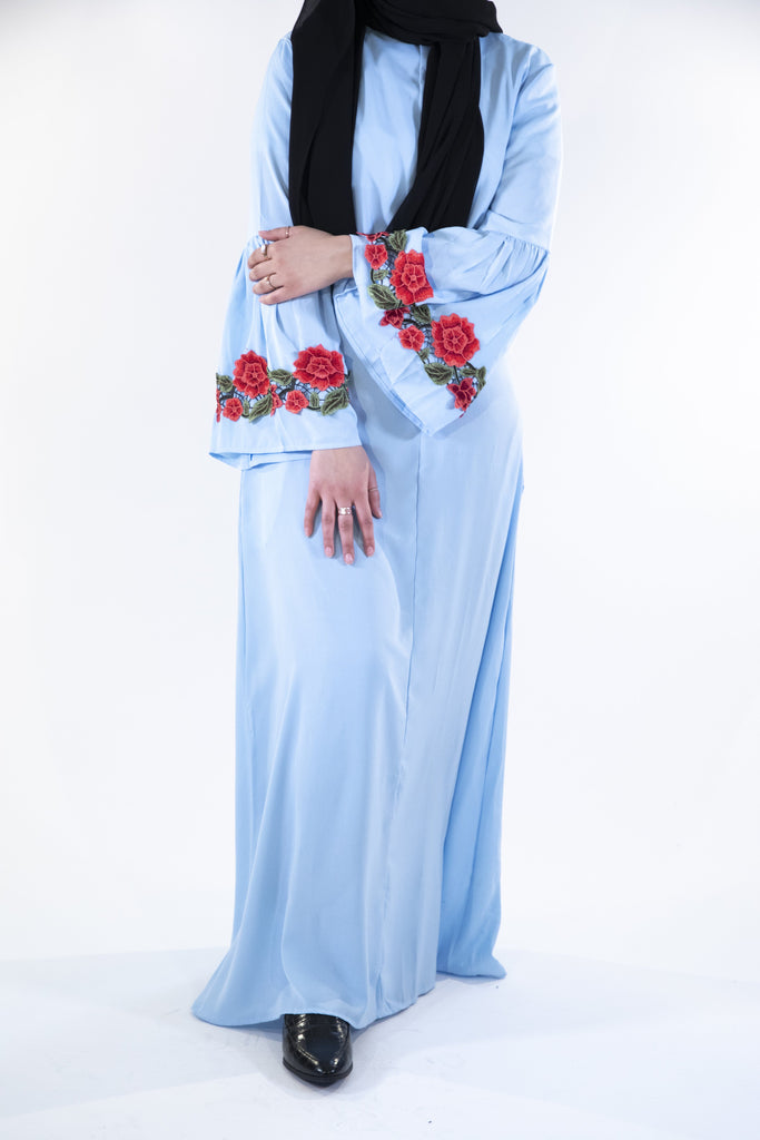 Blue - Floral Dress - Arman Hussain Studio