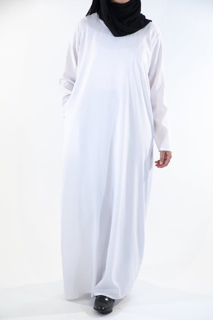 White - Closed Abaya - Arman Hussain Studio