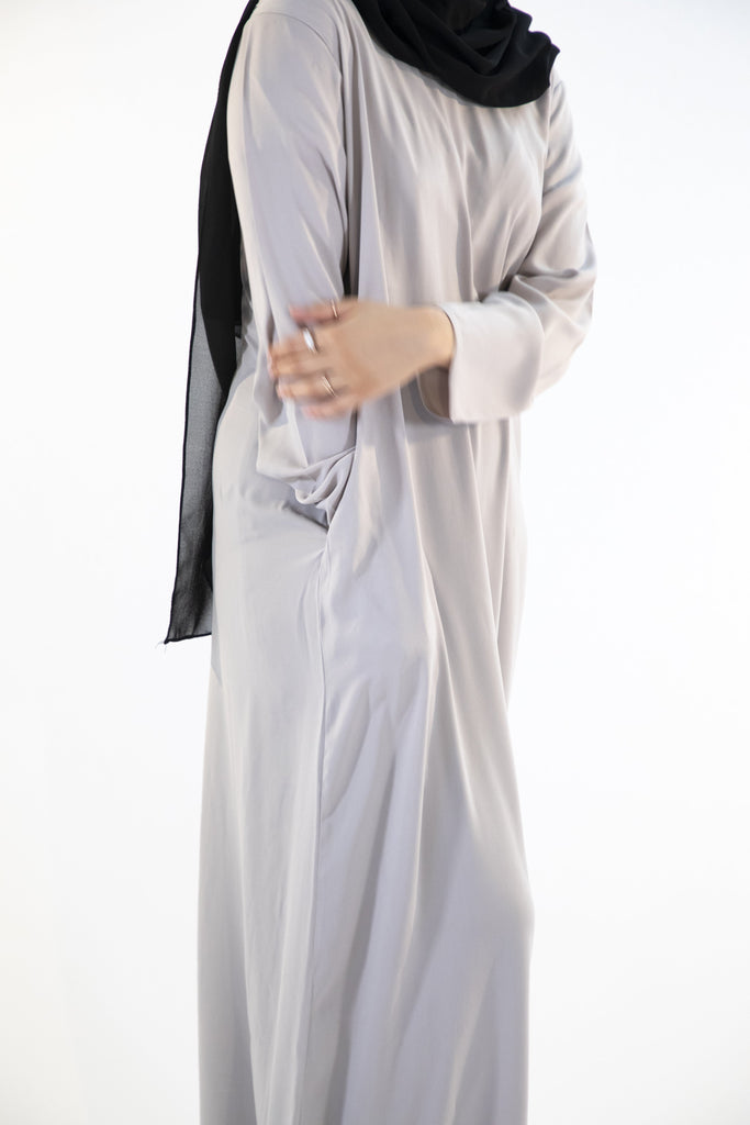 Light Grey - Closed Abaya - Arman Hussain Studio