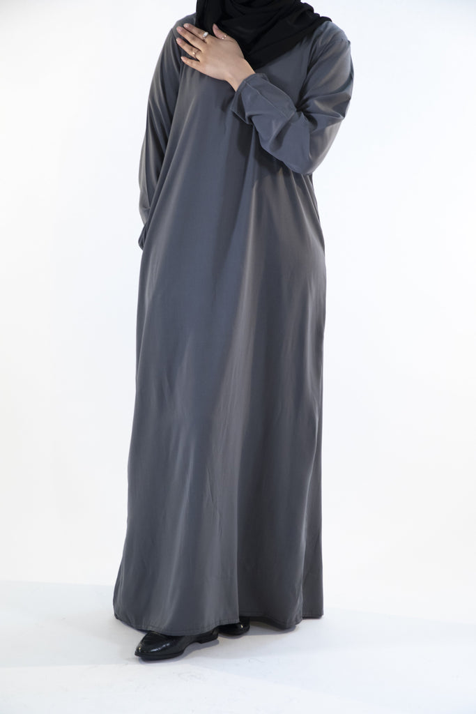 Charcoal Grey - Closed Abaya - Arman Hussain Studio