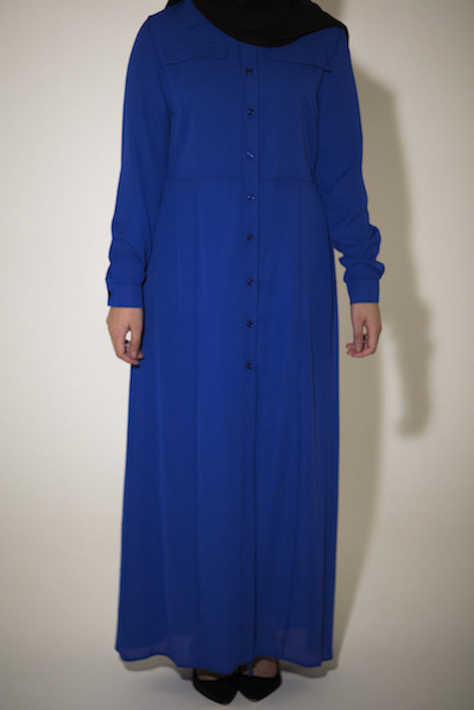 Royal Blue Maxi Shirt - Arman Hussain Studio