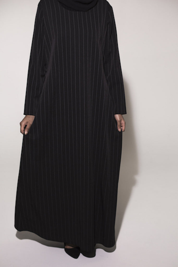 Closed Black Pinstripe Abaya - Arman Hussain Studio