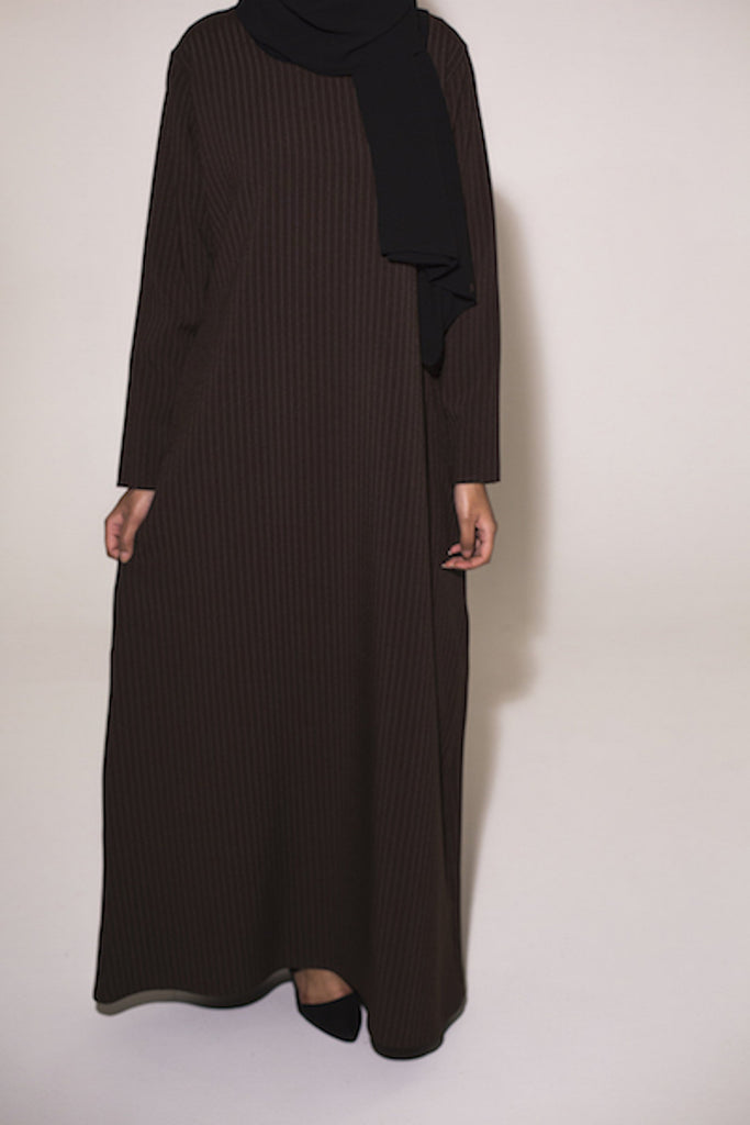 Closed Brown Pinstripe Abaya - Arman Hussain Studio