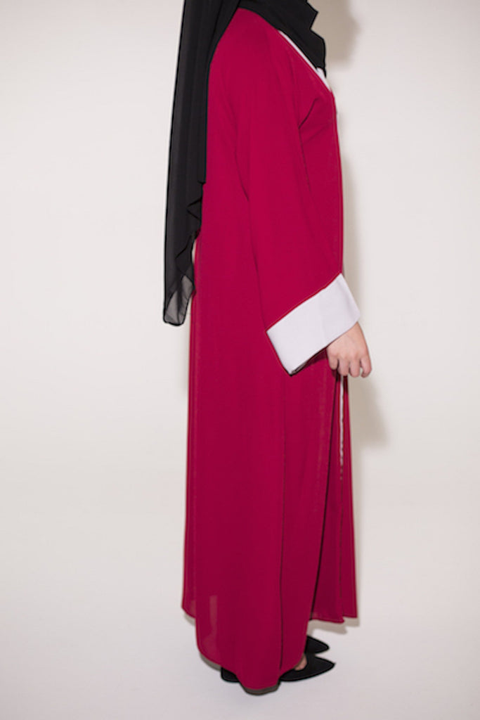 Two Tone Open Abaya - Red With Off White Trim - Arman Hussain Studio