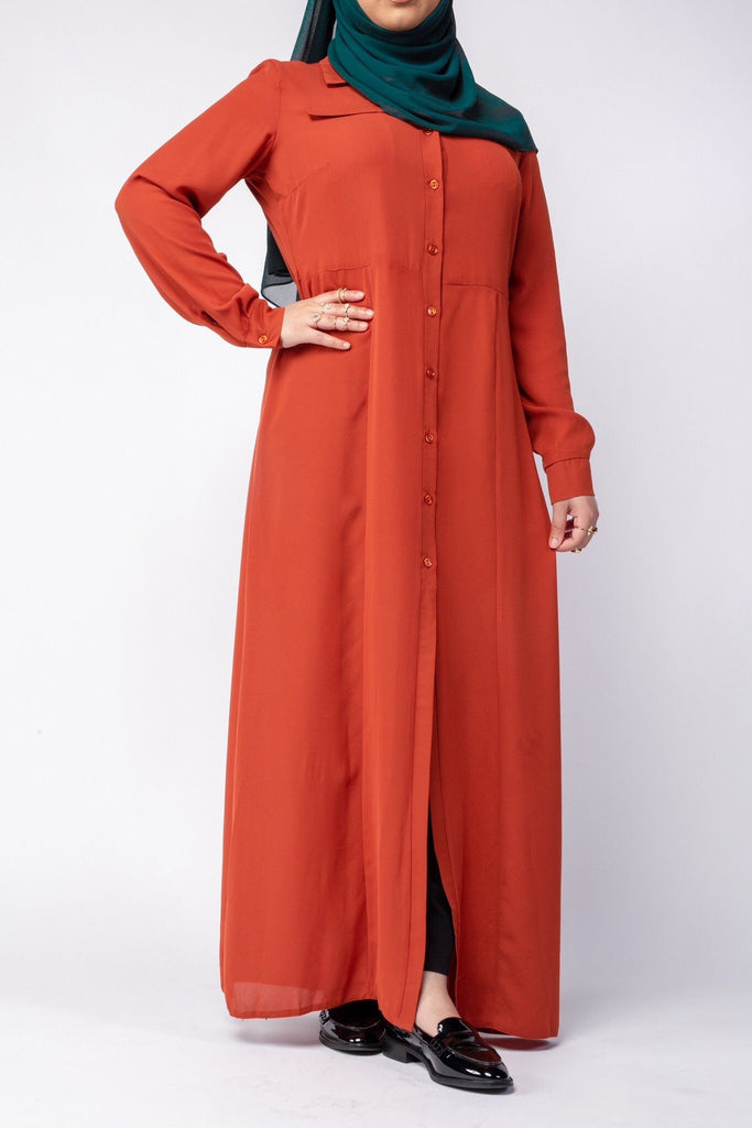 Burnt Orange Maxi Shirt - Arman Hussain Studio