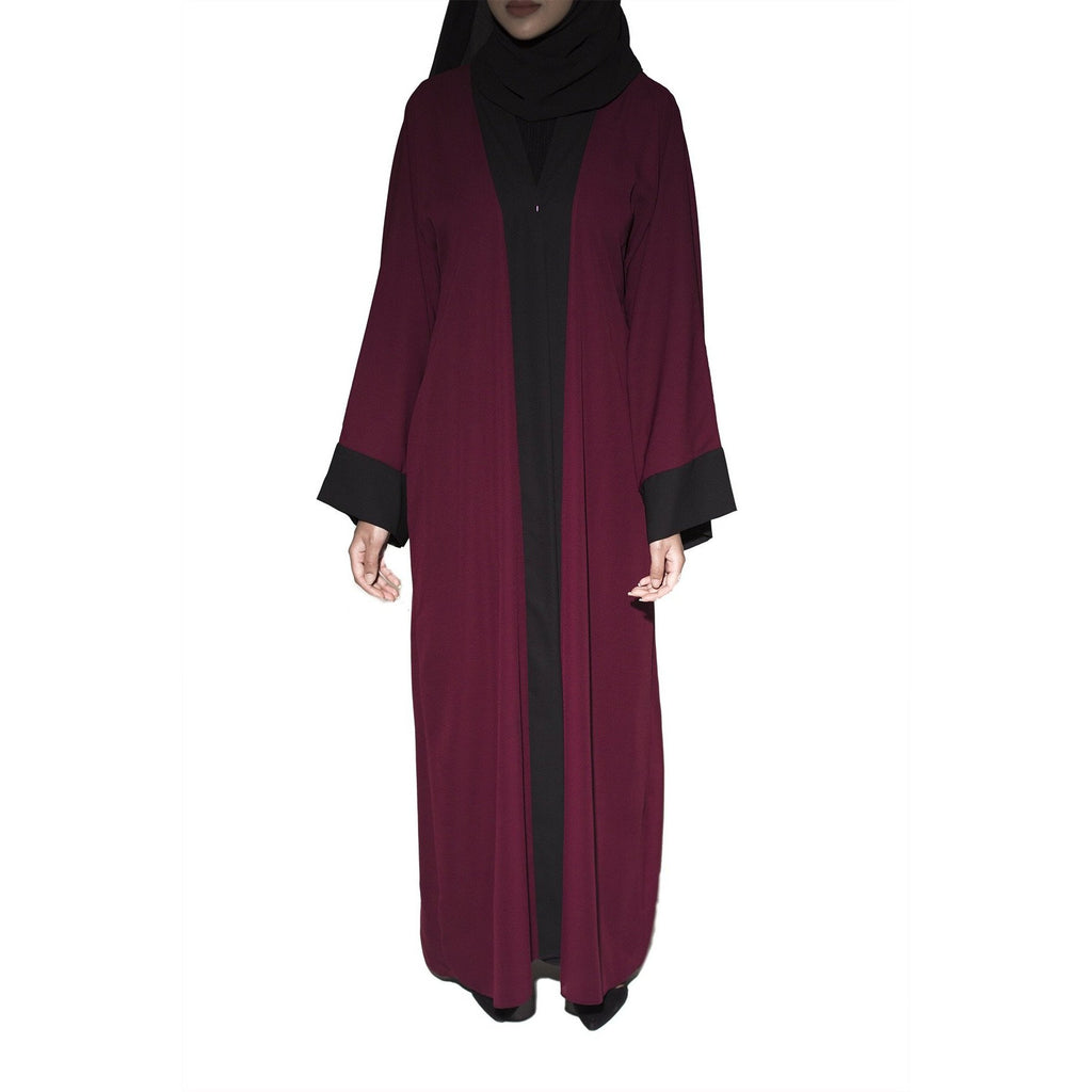 Two Tone Open Abaya - Plum With Black Trim - Arman Hussain Studio
