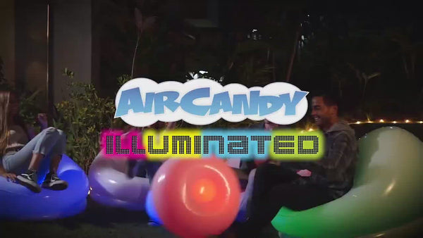 AirCandy Inflatable Illuminated LED BloChair Ottoman, Indoor or Outdoor, 120 Color Changing Options w/Remote