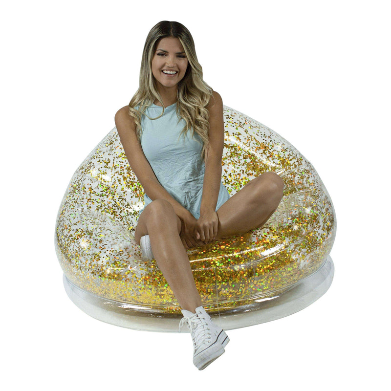 Air Candy Inflatable Chair, Indoor or Outdoor, Holographic Gold Glitter - PoolCandy
