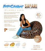 AirCandy Inflatable chair, Indoors or Outdoors, Leopard Safari Print - PoolCandy