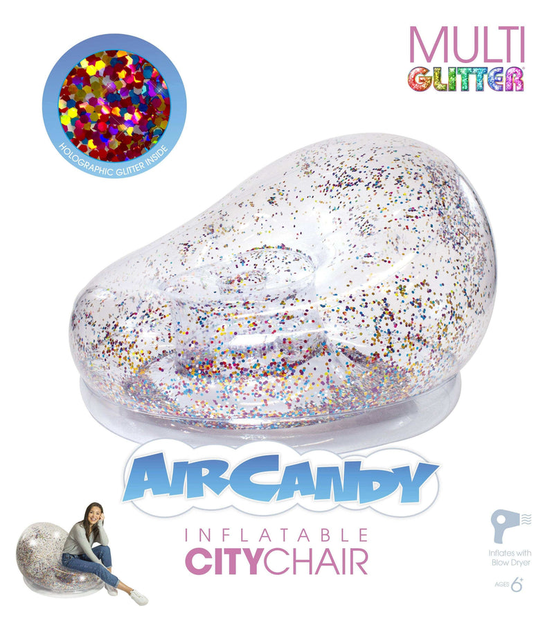 Air Candy Inflatable Chair, Indoors or Outdoors, Multi-Color Glitter - PoolCandy