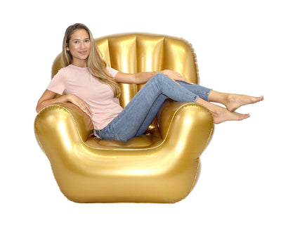 AirCandy Inflatable Classic Arm BloChair, Indoor or Outdoor, Metallic Gold - PoolCandy