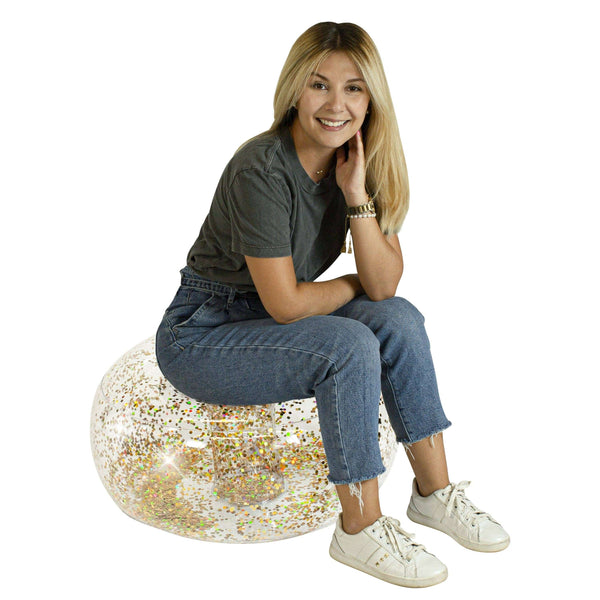 AirCandy Inflatable Gold Glitter BloChair Ottoman, Indoor or Outdoor - PoolCandy