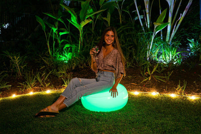 AirCandy Inflatable Illuminated LED BloChair Ottoman, Indoor or Outdoor, 120 Color Changing Options w/Remote - PoolCandy