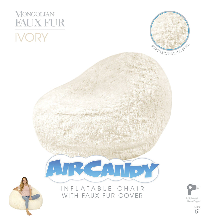 Air Candy Mongolian Faux Ivory Fur Inflatable Chair - PoolCandy