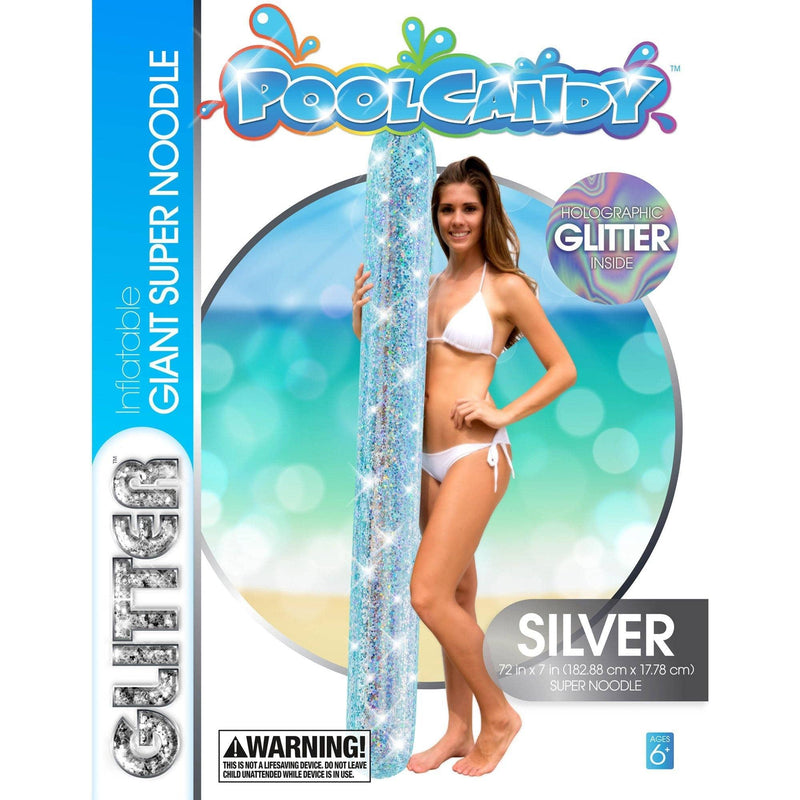 "PoolCandy Giant Super Noodle Pool Float 72"", Silver Glitter - PoolCandy"