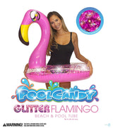 "PoolCandy Glitter Animals Pool Tube 36"" Inflatable Pink Flamingo Pool Float - PoolCandy"