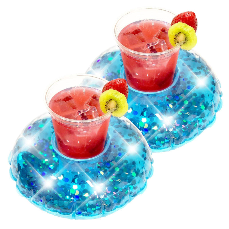 PoolCandy Glitter Drink Pool Float, Set of 2, Blue Glitter - PoolCandy