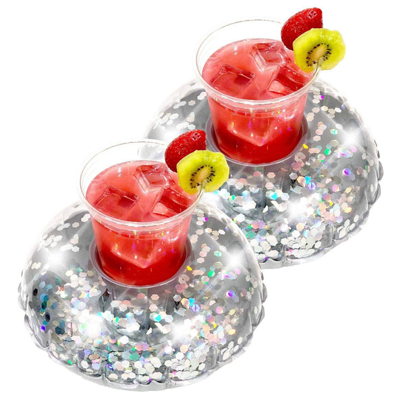 PoolCandy Glitter Drink Pool Float, Set of 2, Silver Glitter - PoolCandy