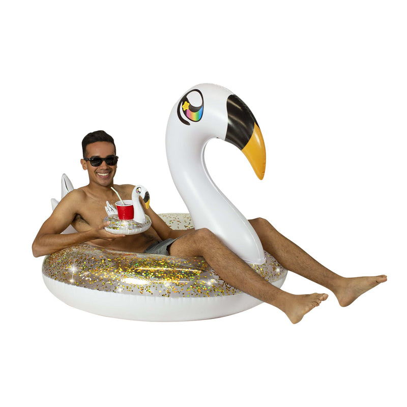 "PoolCandy Glitter Swan Party Animal Pack - 48"" Tube with Matching Drink Float - PoolCandy"