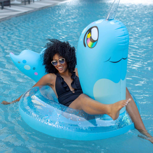 PoolCandy Jumbo Animal Pool Tube, Narwhal - PoolCandy