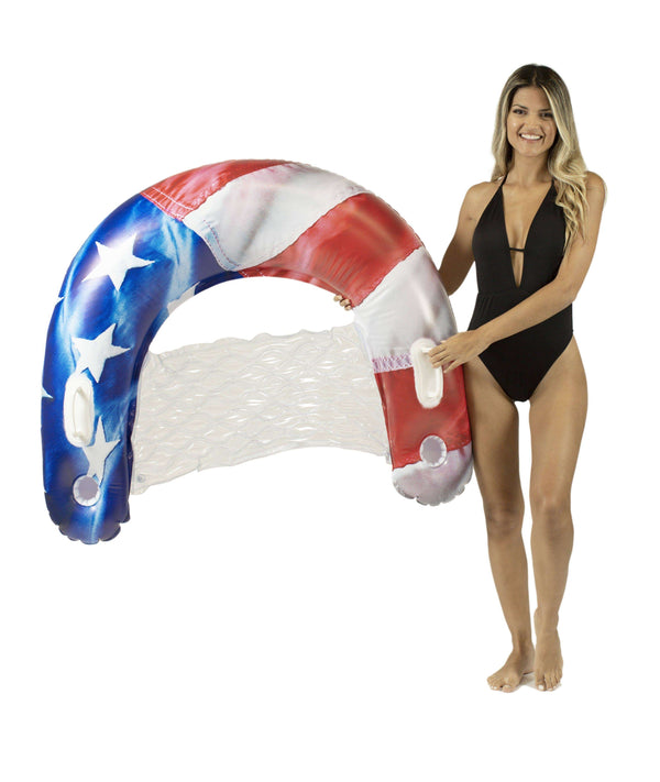 PoolCandy Sun Chair Water Raft, Stars & Stripes - PoolCandy