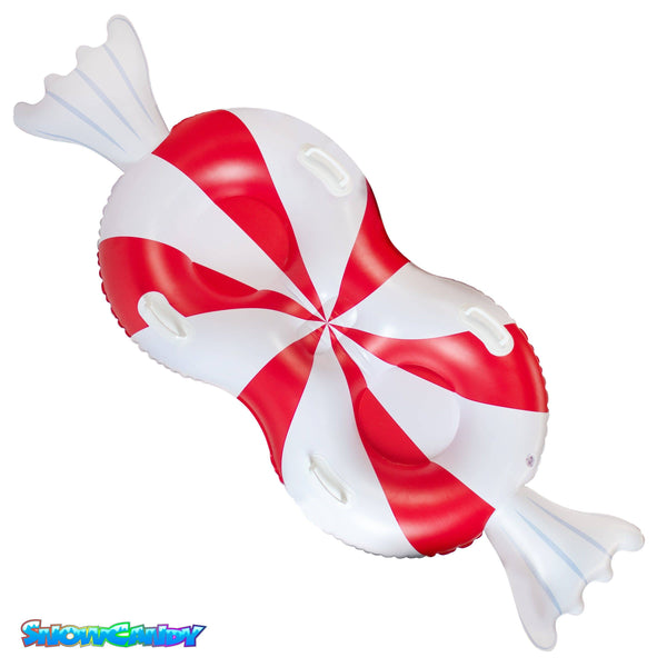 "SNOWCANDY Snow Tube 77"" 2-Person Peppermint Candy - PoolCandy"