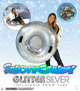 "SNOWCANDY Snow Tube 42"" Silver Glitter - PoolCandy"