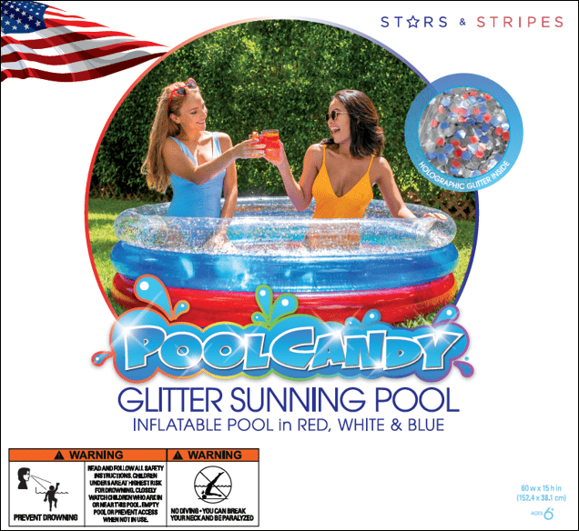 PoolCandy Stars & Stripes Glitter Sunning Pool - Deluxe 60 x 15""