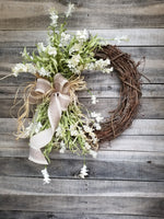 Beautiful Cream Wildflower Floral Wreath  - Farmhouse Florals