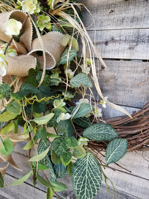 Apple Blossom / Fittonia Front Door Wreath Everyday Wreath - Farmhouse Florals