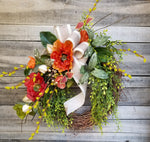 Dark Orange Poppy Front Door Wreath Everyday Wreath - Farmhouse Florals
