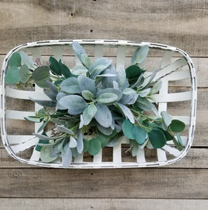 Eucalyptus & Lambs Ear Tobacco Basket Arrangement  - Farmhouse Florals