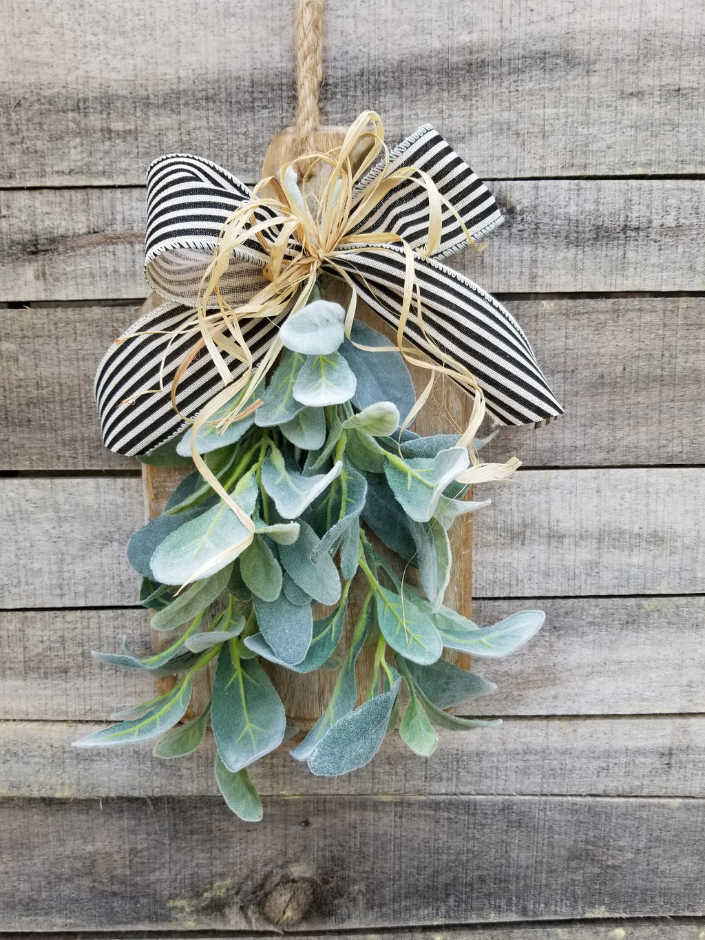 Lambs Ear Wall Arrangement Farmhouse Style - Farmhouse Florals