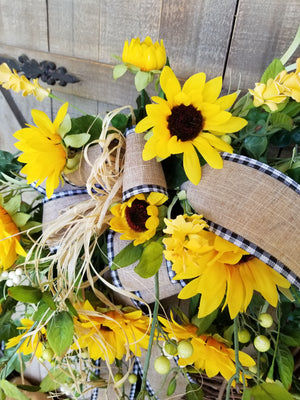 Gorgeous Sunflower Fall Front Door Wreath Fall - Farmhouse Florals