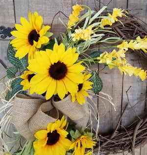 Gorgeous Fall  Sunflower Wreath Fall - Farmhouse Florals