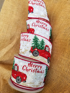 "Vintage Red Truck With Christmas Tree Wired Ribbon 2.5"" X 10 Yards. Ribbon and Bows - Farmhouse Florals"