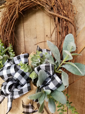 Farmhouse Buffalo Plaid Lambs Ear Front Door Wreath  - Farmhouse Florals