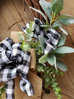 BUFFALO PLAID LAMBS EAR FRONT DOOR WREATH  - Farmhouse Florals