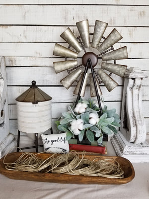 Windmill Cotton Lambs Ear Farmhouse Style Arrangement